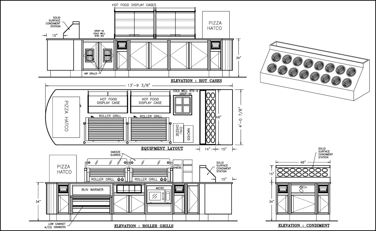 Front Elevation Design Website : Food counter drawings shopco u s a inc