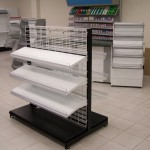 White Wire Grid Shelving with Black Base